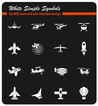 air transport white simply symbols for web icons and user interface design Illustration