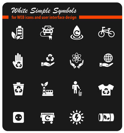 alternative energy white simply symbols for web icons and user interface design Illustration