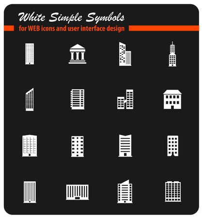 building white simply symbols for web icons and user interface design Illustration