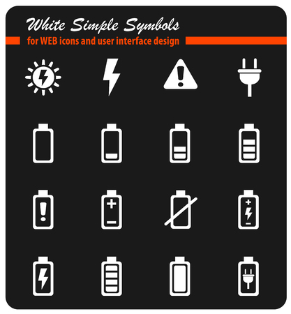 battery white simply symbols for web icons and user interface design Illustration