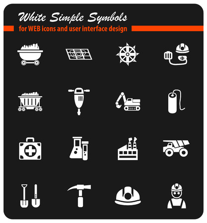coal industry white simple symbols for web icons and user interface design