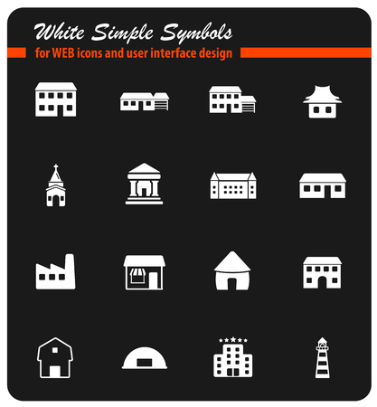Buildings black silhouette simply icons for web