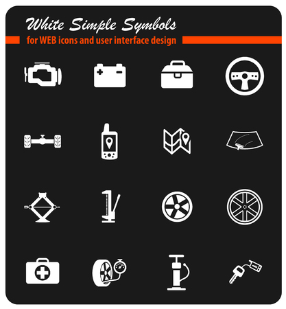 first aid kit key: Car shop black silhouette simply icons for web