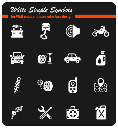 car shop white simple symbols for web icons and user interface design Illustration