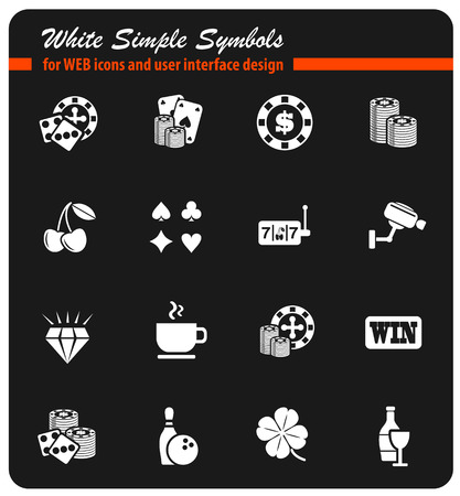 casino white simply symbols for web icons and user interface design Illustration