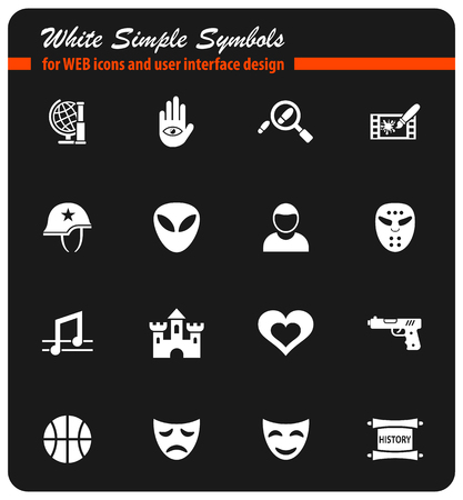 cinema genre white simple symbols for web icons and user interface design
