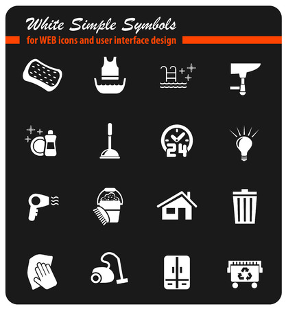 cleaning company white simply symbols for web icons and user interface design