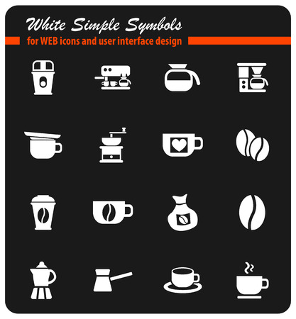 coffee white simple symbols for web icons and user interface design
