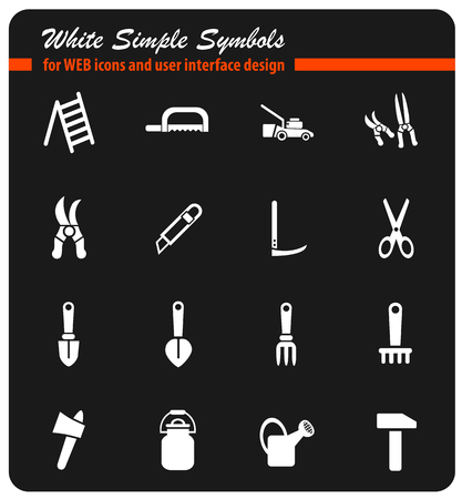 Garden tools icon set. Illustration