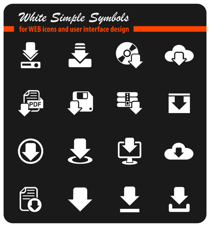 download white simple symbols for web icons and user interface design