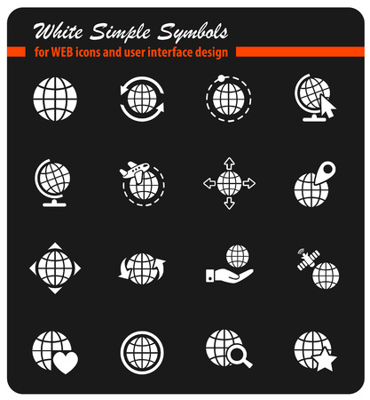 magnyfying glass: globes icon set