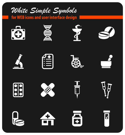 Pharmacy icon set Illustration