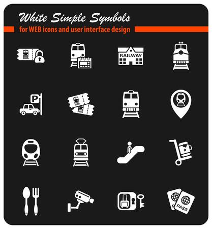Railway station icon set