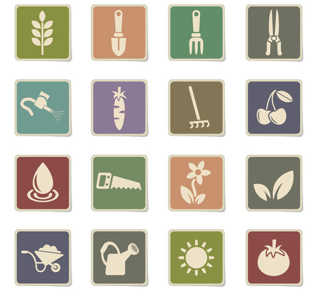 gardening web icons for user interface design