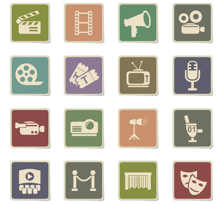 Cinema web icons for user interface design.