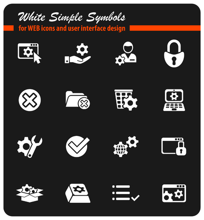 Settings white simple symbols for web icons and user interface design.