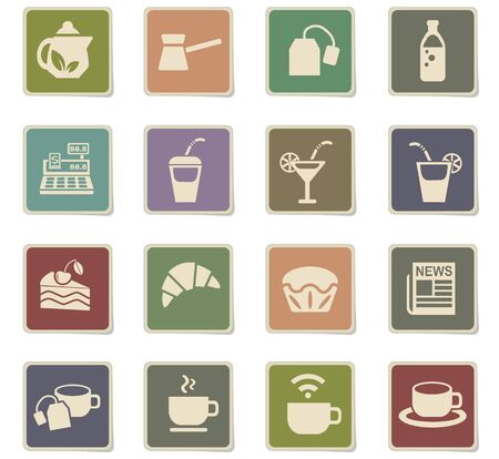 cafe web icons for user interface design Stock Photo