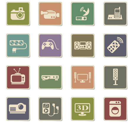 Home appliances web icons for user interface design. Иллюстрация