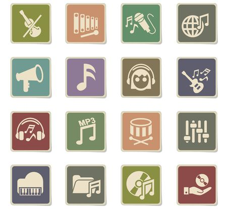 Music web icons for user interface design. Фото со стока - 73639609