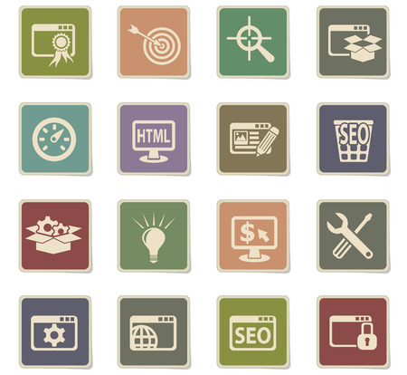 SEO and development web icons for user interface design. Illustration