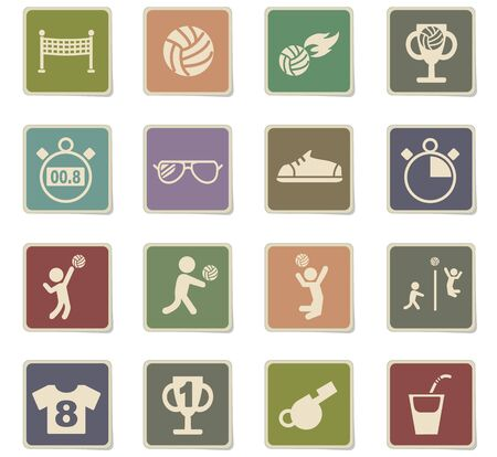 adolescent: Volleyball web icons for user interface design. Illustration