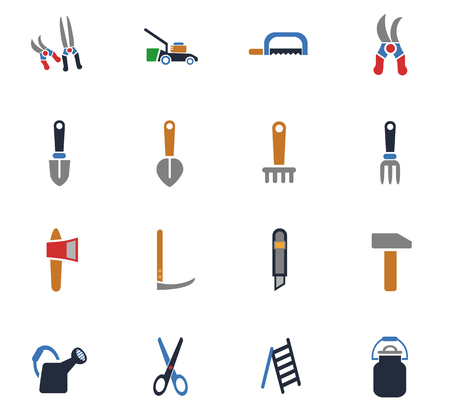 mowers: Garden tools web icons for user interface design.