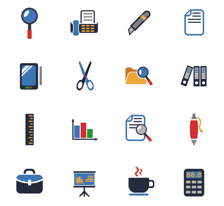 Office web icons for user interface design.
