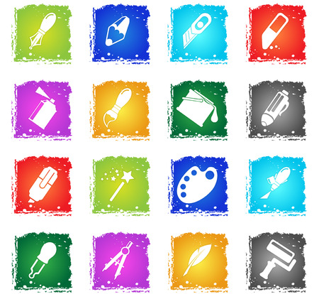 Design tools simply icons in grunge style for user interface design Illustration