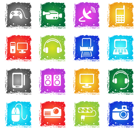 Devices simply symbols in grunge style for user interface design Illustration