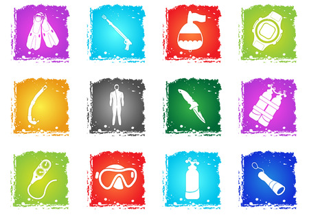 Equipment for Diving simply symbols in grunge style for user interface design