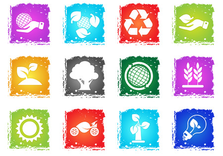 Ecology and recycle symbols vector icon set in grunge style for user interface design