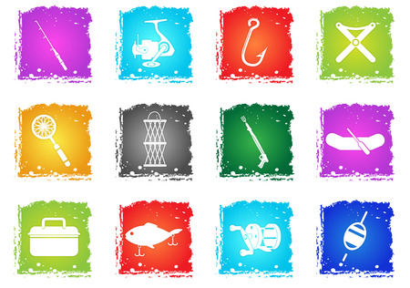 Fishing simply symbols in grunge style for user interface design