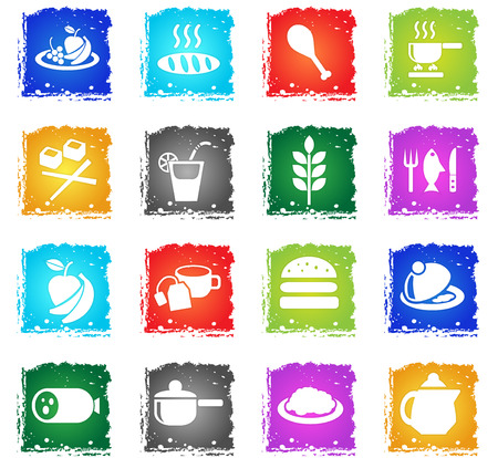 food and kitchen web icons in grunge style for user interface design Illustration