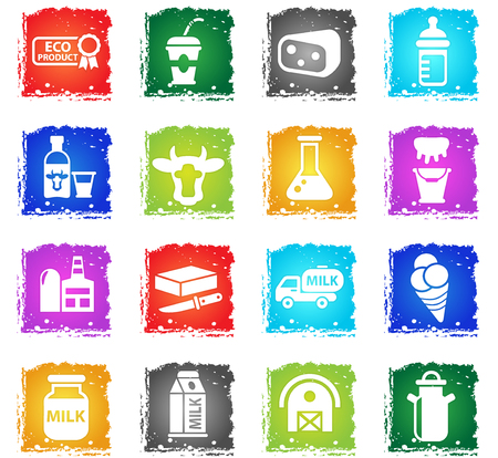 milk web icons in grunge style for user interface design
