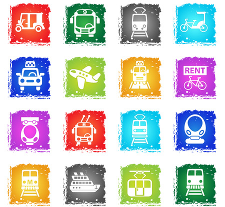 monorail: public transport web icons in grunge style for user interface design