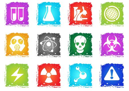 Science simply symbols in grunge style for user interface design Illustration