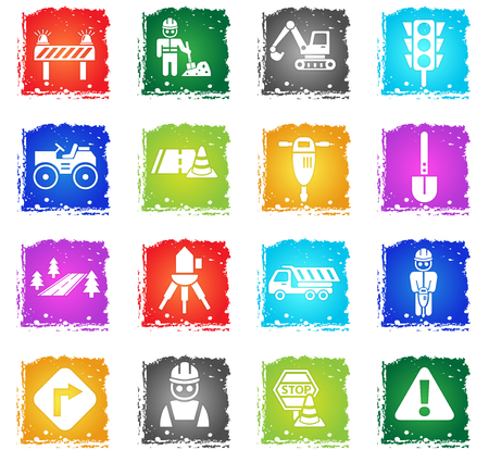 flashers: road repairs web icons in grunge style for user interface design Illustration