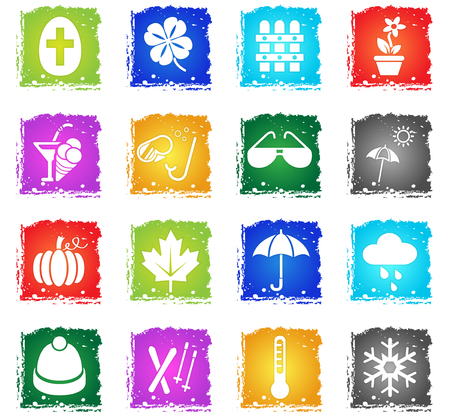 seasons web icons in grunge style for user interface design Illustration