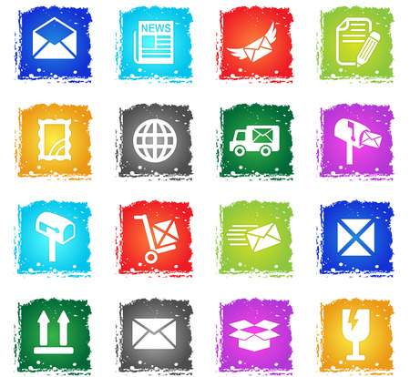post service web icons in grunge style for user interface design Illustration