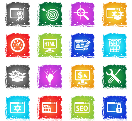 targetting: seo and development web icons in grunge style for user interface design