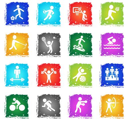 Sport Web Icons in Grunge-Stil für Benutzeroberfläche Design Vektorgrafik