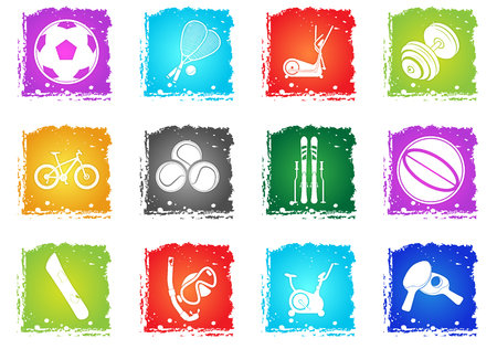 puck: sport balls vector icons in grunge style for user interface design