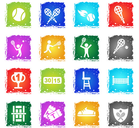 tennis web icons in grunge style for your design