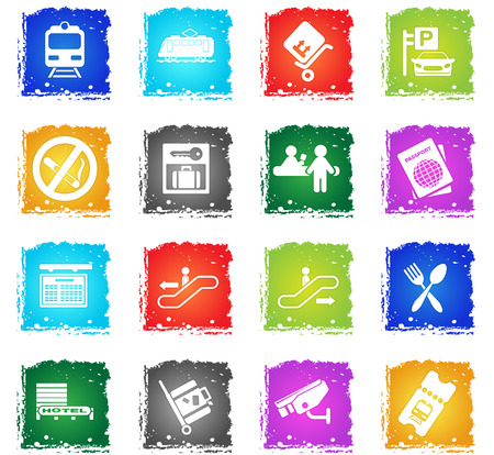 Train station simply symbols in grunge style for your design