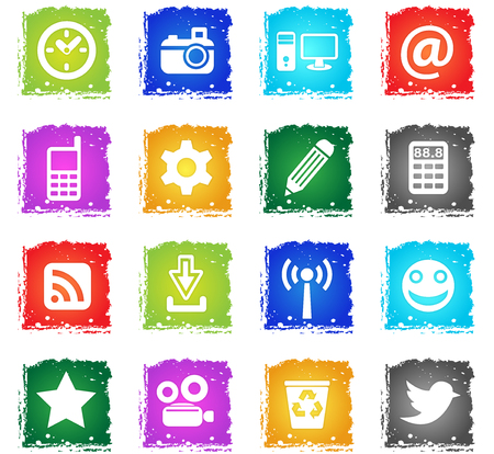social media web icons in grunge style for user interface design Vector Illustration