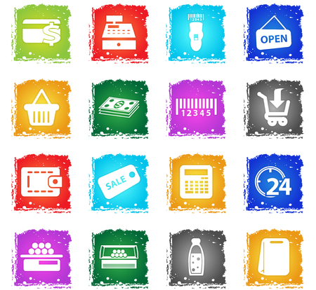 grocery store vector web icons in grunge style for user interface design