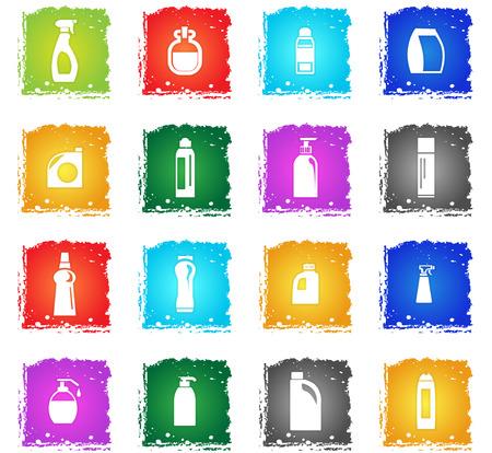 air cleaner: iconos de web de productos químicos domésticos en estilo grunge para el diseño de la interfaz de usuario Vectores
