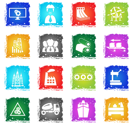 industry vector web icons in grunge style for user interface design