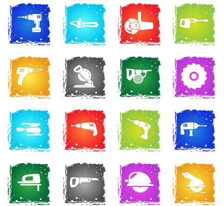 industrial equipment vector web icons in grunge style for user interface design Illustration