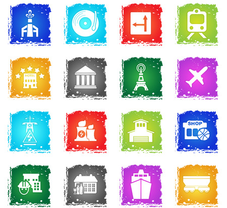 infrastructure vector web icons in grunge style for user interface design Illustration
